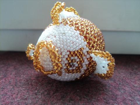 Игрушки из бисера ручная работа - Золотая рыбка.